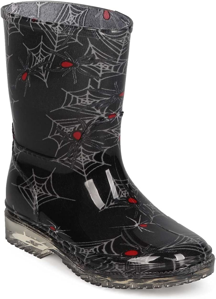 EC19 Size: Toddler 7 Toddler Black Boys Spider Web Jelly Round Toe Pull On Rain Boot