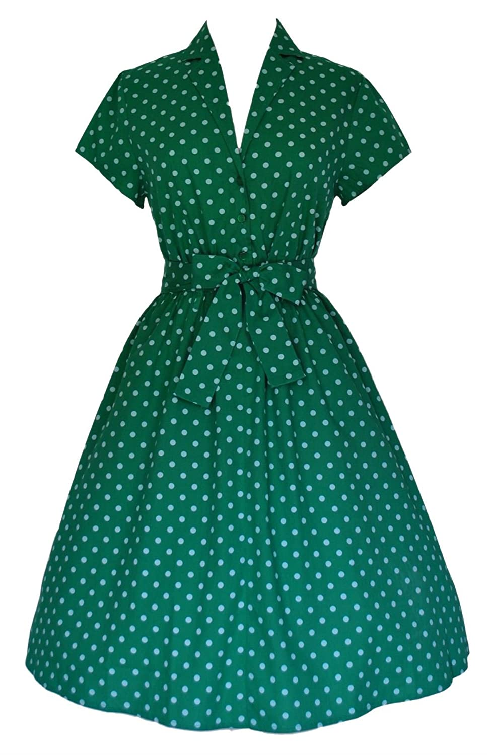 Womens 1940\'s Retro Vintage Style Navy Blue Polka Dot Belted A-Line ...