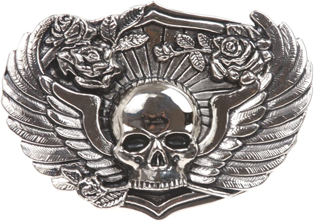 Winged Skull Roses Pirate Belt Buckle: Clothing