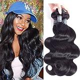 "Amella Hair Grade 8A 3 Bundles of Brazilian Body Wave Hair Bundles Weave Human Remy Virgin Hair (8"" 10"" 12"") Natural Black Color 300g total"