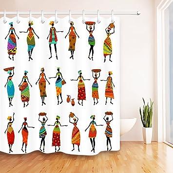 Decoración étnica cortina de ducha,África Mujeres negras étnicas bailando Decoración del cuarto de baño