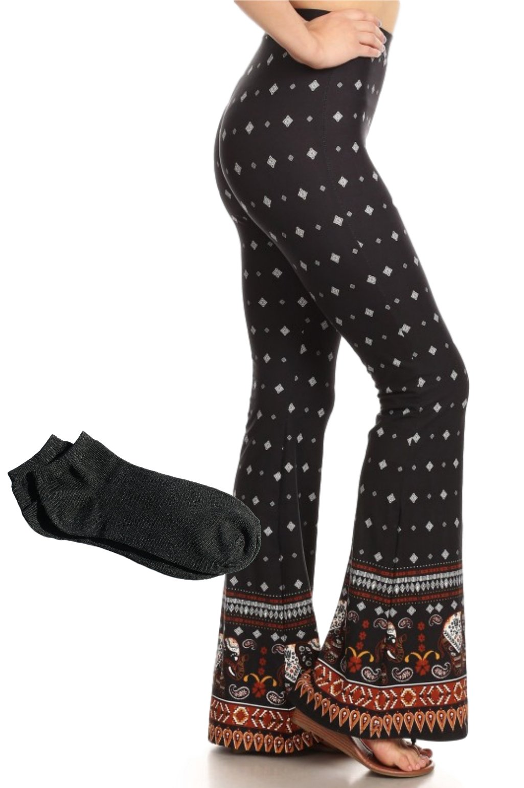 ShoSho Women's Sexy Assorted High Waisted Slimming Wide Flare Solid and Print Palazzo Leggings Pants (Elephant Print w/Free Socks, M)