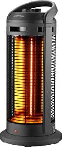 Electric Infrared Space Heater With Adjustable Thermostat,1500W Quiet and Fast Heating Indoor Portable Carbon Tube Heater Overheat & Tip-over Protection for Home and Office Use
