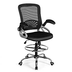 Giantex Mesh Drafting Chair Adjustable Height with Lumbar Support, Ergonomic Computer Chair w/Flip Up Arms & Footrest Ring, Padded Seat, Swivel Rolling Executive Chair
