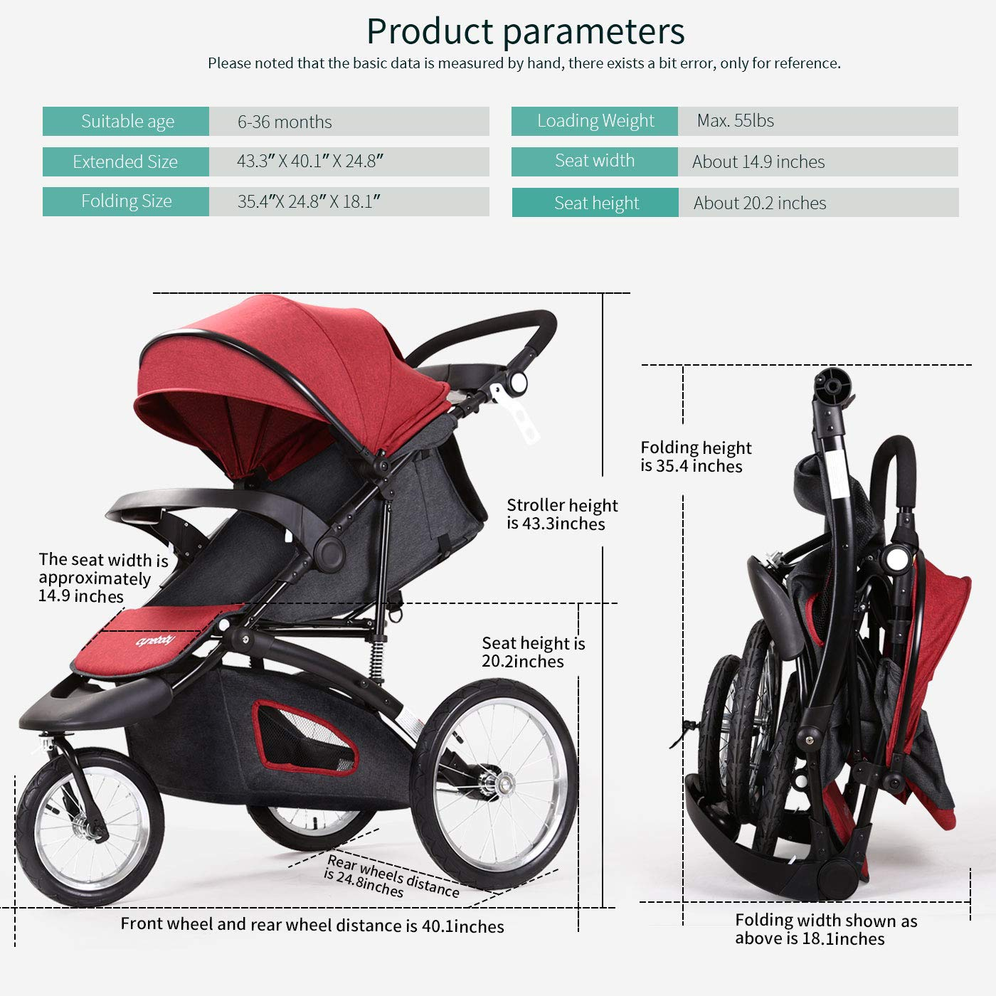 Jogging Stroller Fold City Baby Jogger Travel Citi Jog Strollers Single Toddler Baby Pram Jogging Compact Urban Ultralight Joggers Beby Carriage Pushchair Stroller Travel System by Cynebaby / HAIXIAO (Image #8)