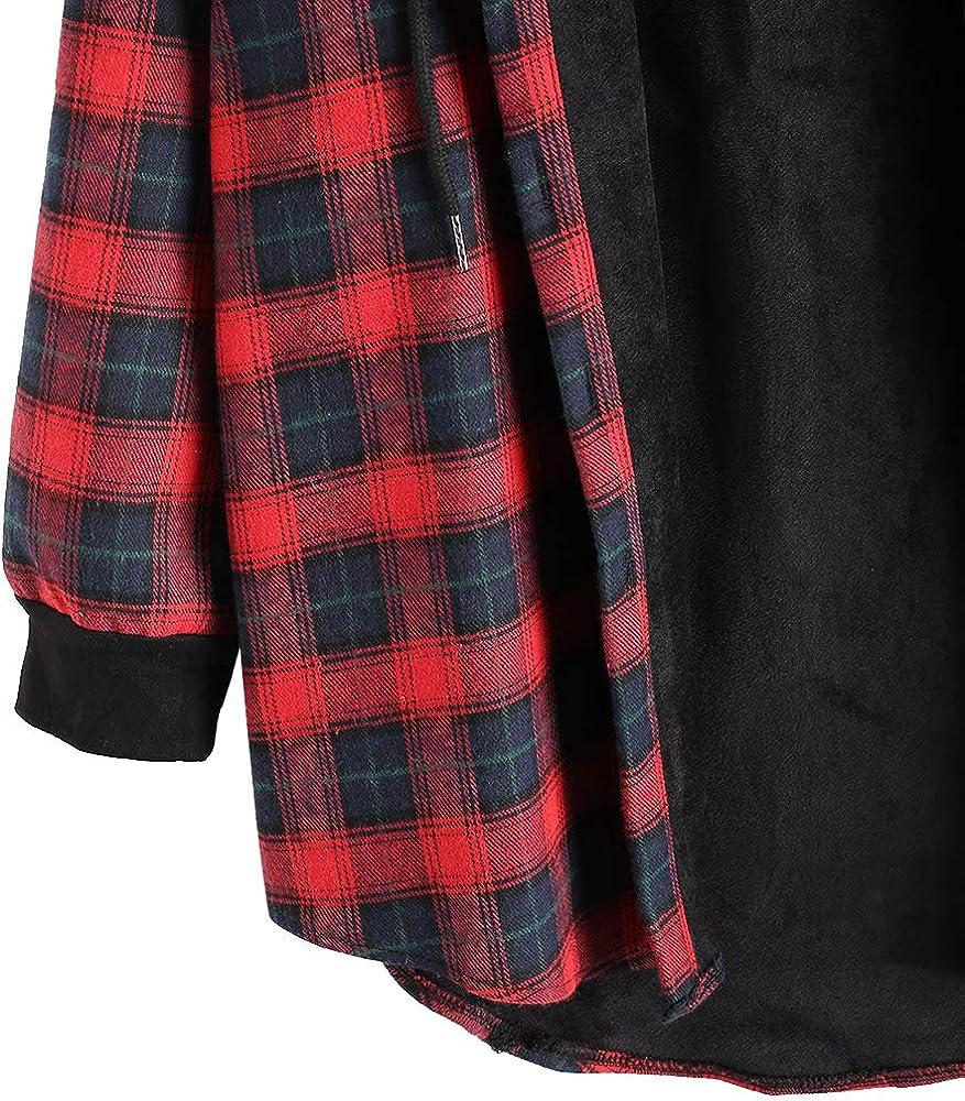 ZAFUL Womens Plaid Fleece Jacket Flannel Lined Hoodie Loose Fuzzy Hooded Coat