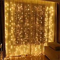 LED String Lights Curtain Lights - Speclux 300LEDS 8 Modes Indoor Outdoor Window Curtains String Lights,Warm White Garden Lights For Wedding,Valentine's Day, Christmas, Party, Bedroom&Garden
