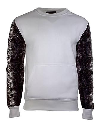 Men Fleece Crewneck Leather Sleeves White Torso Pullover Amazoncom