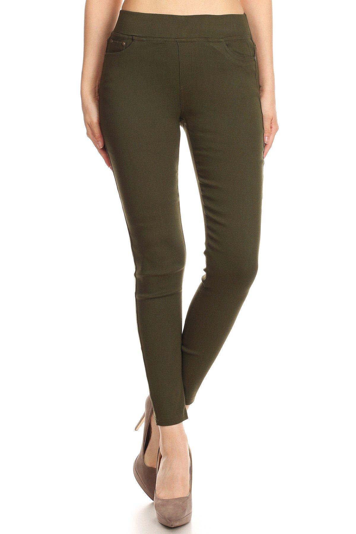 MissMissy Women's Casual Color Denim Slim Fit Skinny Elastic Waist Band Spandex Jeggings Ankle Jeans Pants (Large, Olive)