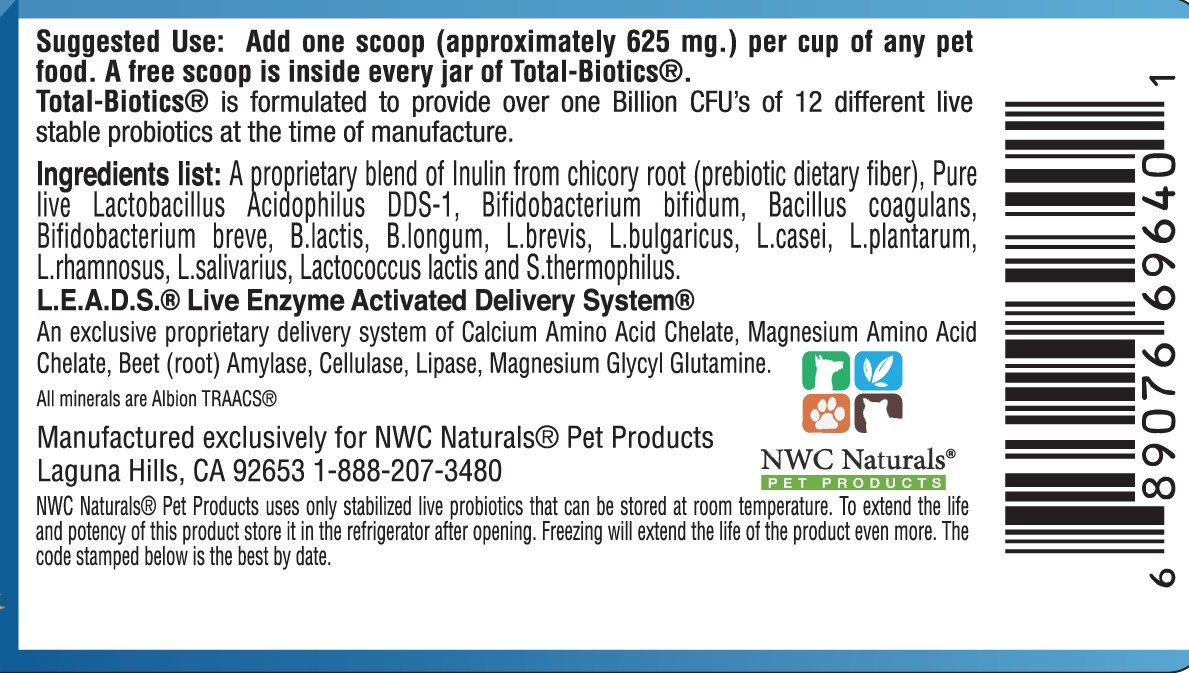 NWC Naturals- Total-Biotics- Probiotics for Dogs and Cats - Treats 365 Cups of Pet Food