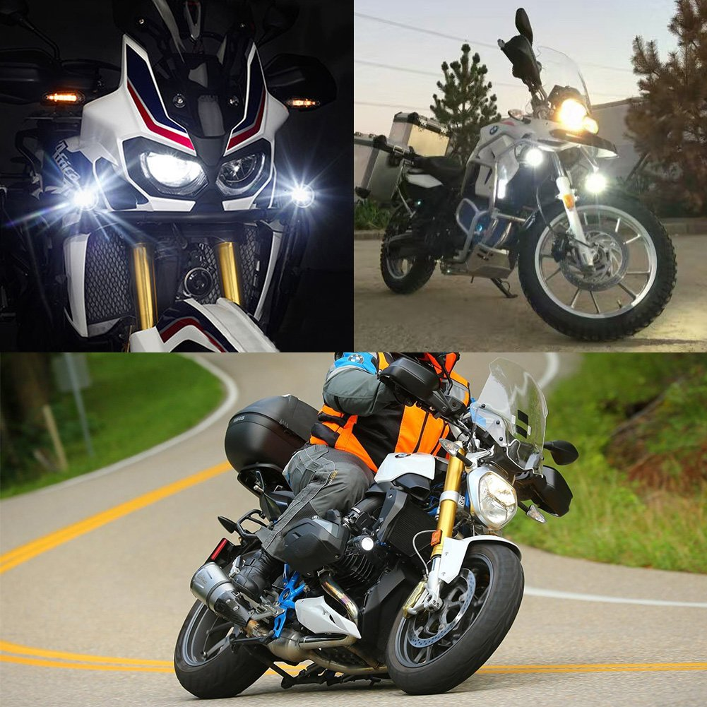 FieryRed LED Auxiliary Lights for Motorcycle BMW K1600 R1200G 40W 6500K Fog Driving Light Kits with Protect Guards Wiring Harness 2 Years Waranty