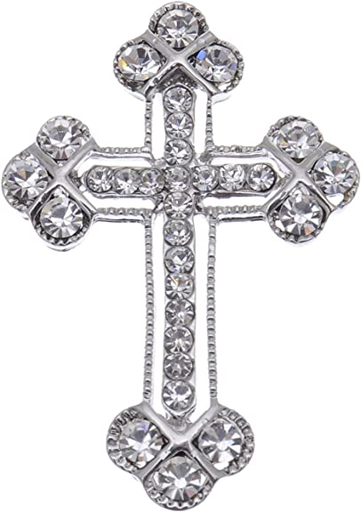 Lux Accessories Silver Tone Cross Silver Crystal Rhinestones Brooch Pins