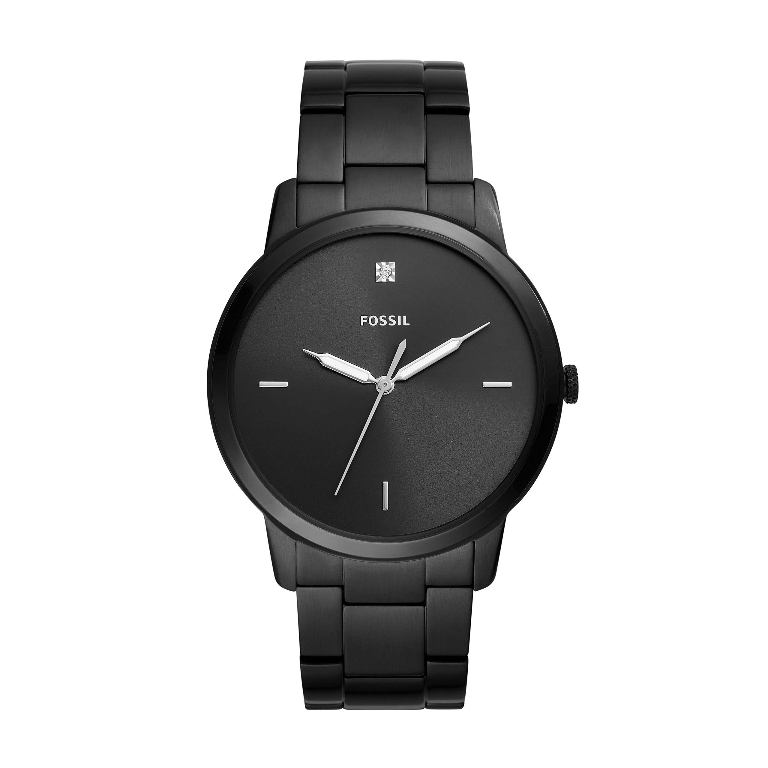 Fossil Men Minimalist Carbon Series Quartz Stainless Steel Diamond Accent Dress Watch, Color: Black (Model: FS5455) by Fossil