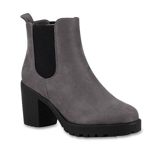 2dbdc4921cca4 Stiefelparadies Damen Stiefeletten Chelsea Boots mit Blockabsatz  Profilsohle Flandell
