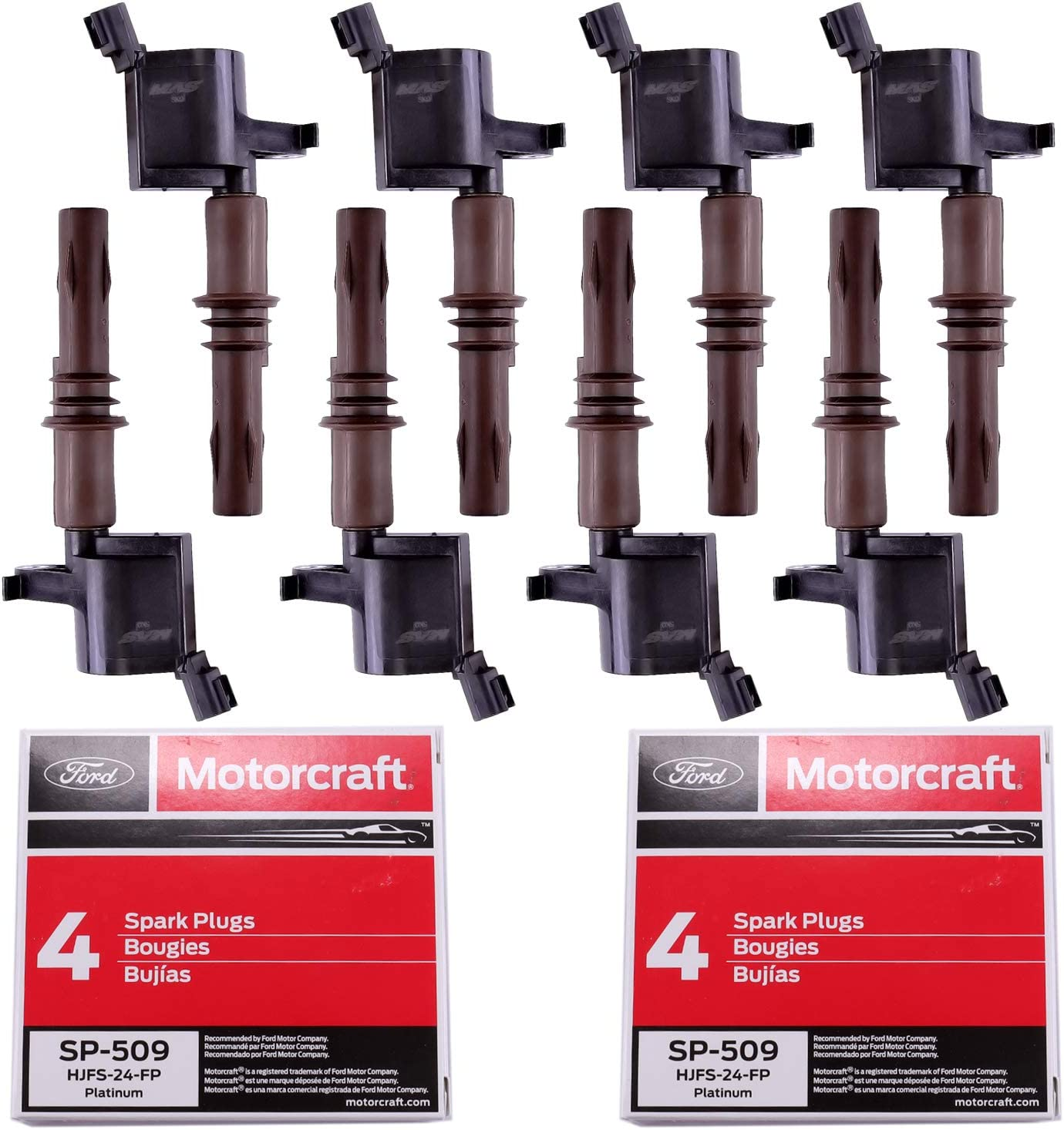 Ignition Coils DG521 and Motorcraft SP-509 Spark Plugs for Ford Expedition F-150 Super Duty F-250 F-350 F-450 F-550 F-350 F53 Compatible 4.6L 5.4L 6.8L with C1659 DG521 8L3Z-12029-A