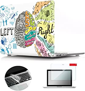 Se7enline MacBook Air Case Pattern Soft Touch Hard Shell Plastic Protective Cover for MacBook Air 13 inch A1369/A1466 Silicone Keyboard Cover Skin Screen Protector 3 in 1 Bundle, Left Right Brain
