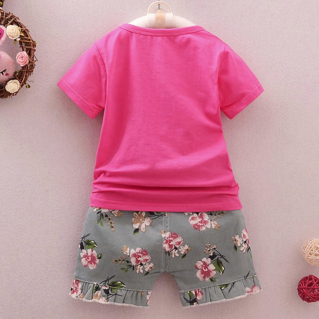 Moonker 2Pcs Infant Baby Toddler Girl Cat Short Sleeve Tops T-Shirt and Floral Shorts Outfits Clothes Set 0-2T