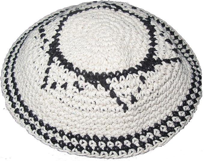 16cm 62 Off White Knitted Kippah Yarmulke With Star Of David At