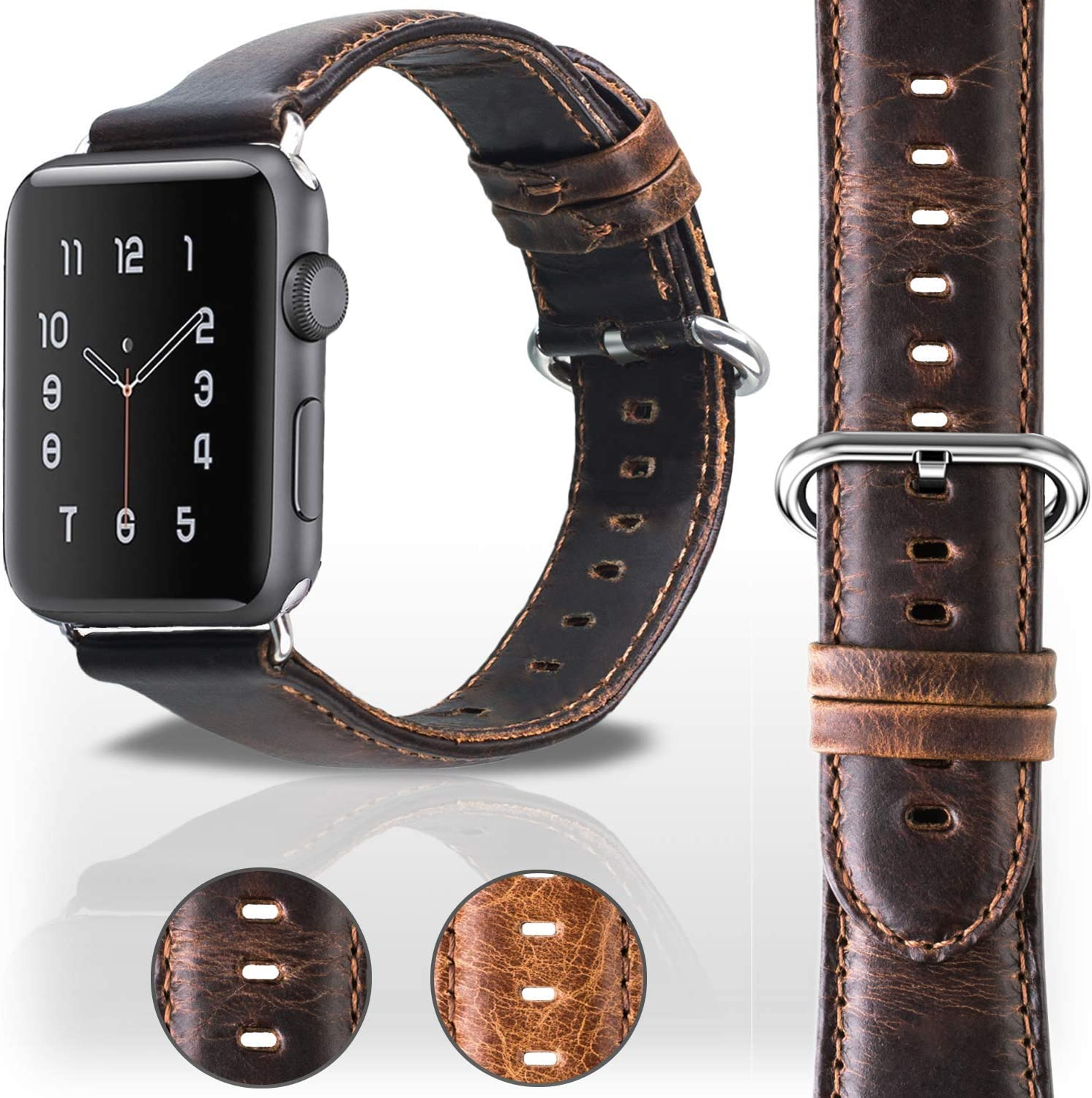 Veracelli compatible with Apple Watch Band 42mm 44mm - Mens and Womens Genuine Leather replacement for iWatch Bands - Series 4 Series 3 Series 2 Series 1 Apple Watch Strap - Dark Brown