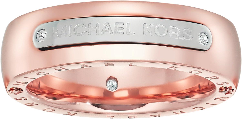Amazon.com: Michael Kors Women\'s Tailored Two-Tone Logo Plaque Band ...