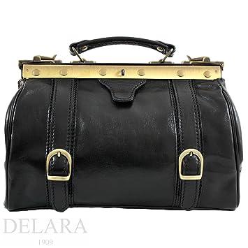 079f1cd3efd1 DELARA Real Leather Little Handbag Doctor s Bag Style - Black ...