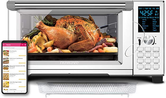 NuWave Bravo XL Convection Air Fryer Oven with Crisping and Flavor Infusion Technology (FIT) with Integrated Digital Temperature Probe for Perfect Results; Non-Stick Enamel Baking Pan; 12 Programmed Presets; 3 Fan Speeds; 5 Quartz Heating Elements; Precision Temperature Control from 100°F to 450°F in 5°F Increments; Cook up to a 10 LB. Chicken, 13 inch Pizza, or 9 Slices of Toast; Air Fry, Broil, Bake, Roast, Grill, Toast; Dehydrate, Warm, and Reheat