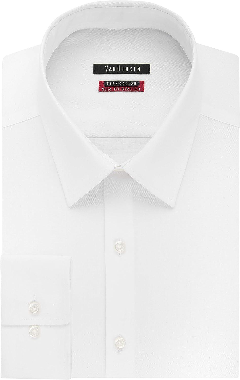 Van Heusen Men's Dress Shirt Slim Fit Flex Collar Stretch Solid at  Men's Clothing store