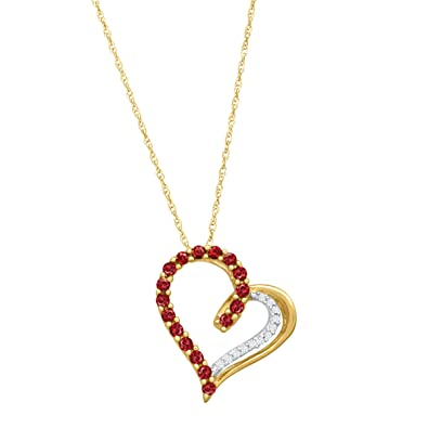 f5c3ff31bea96 1/3 ct Created Ruby Heart Pendant Necklace with Diamonds in 14K Gold