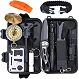 Emergency Survival Gear Kit 13 in 1, EMDFORCE Professional Outdoor Survival Tools with Bracelet Fire Starter Whistle Flashlight Tactical Pen Compass for Camping Hiking Hunting Travelling