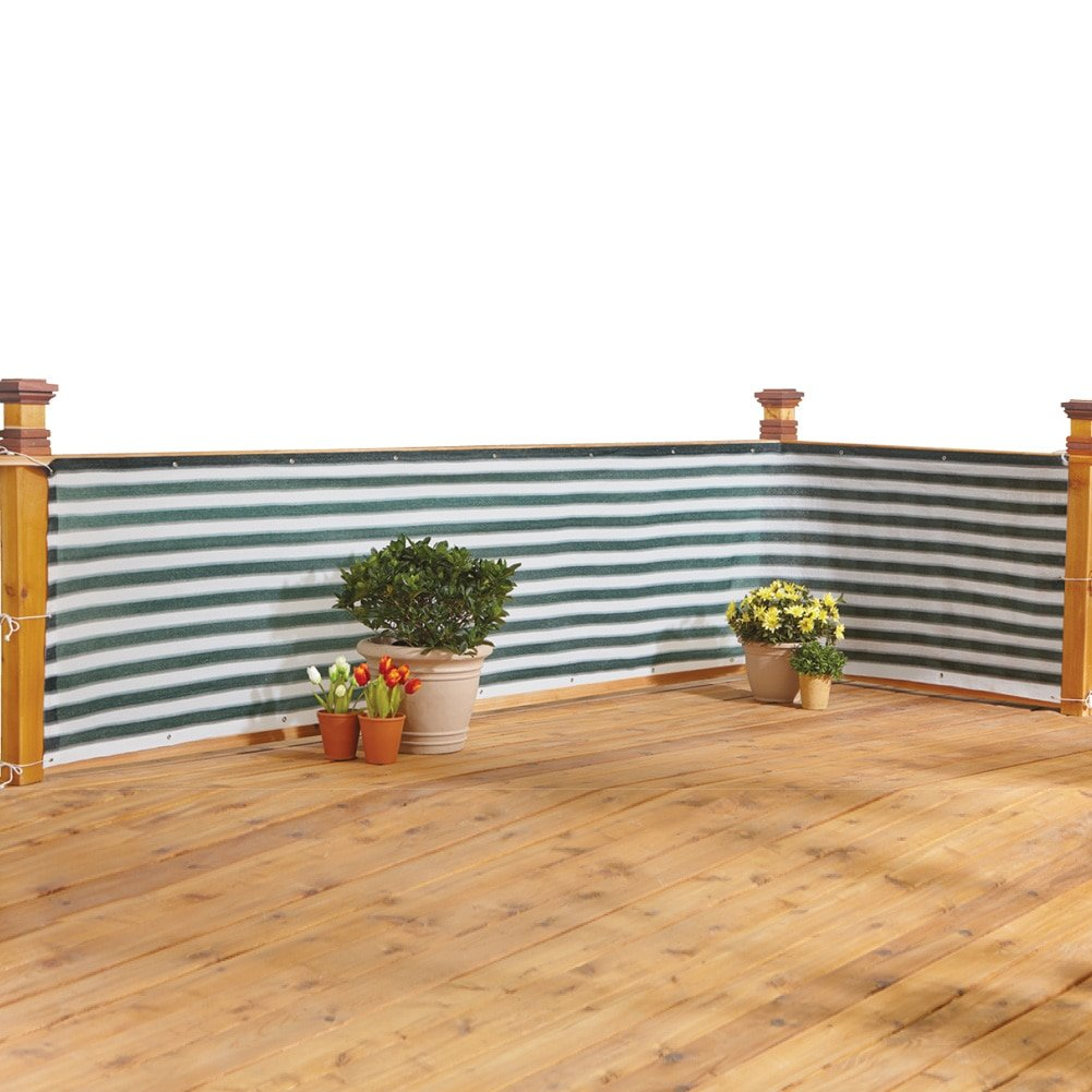 Collections Etc Deck & Fence Privacy Durable Waterproof Netting Screen with Grommets and Reinforced Seams, Green Stripe