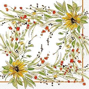 Boston International C832300 IHR Rosanne Beck Collection Cocktail Beverage Paper Napkins, 5 x 5-Inches, Sunflower Medley
