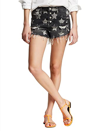 Mossimo Women s Americana Distressed Denim High Rise Shorts Cuttoffs at  Amazon Women s Clothing store  b17716a0af6