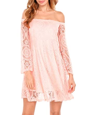 225b8e4297ba0 Meaneor Long Sleeve Off The Shoulder Lace A-Line Short Dress at ...