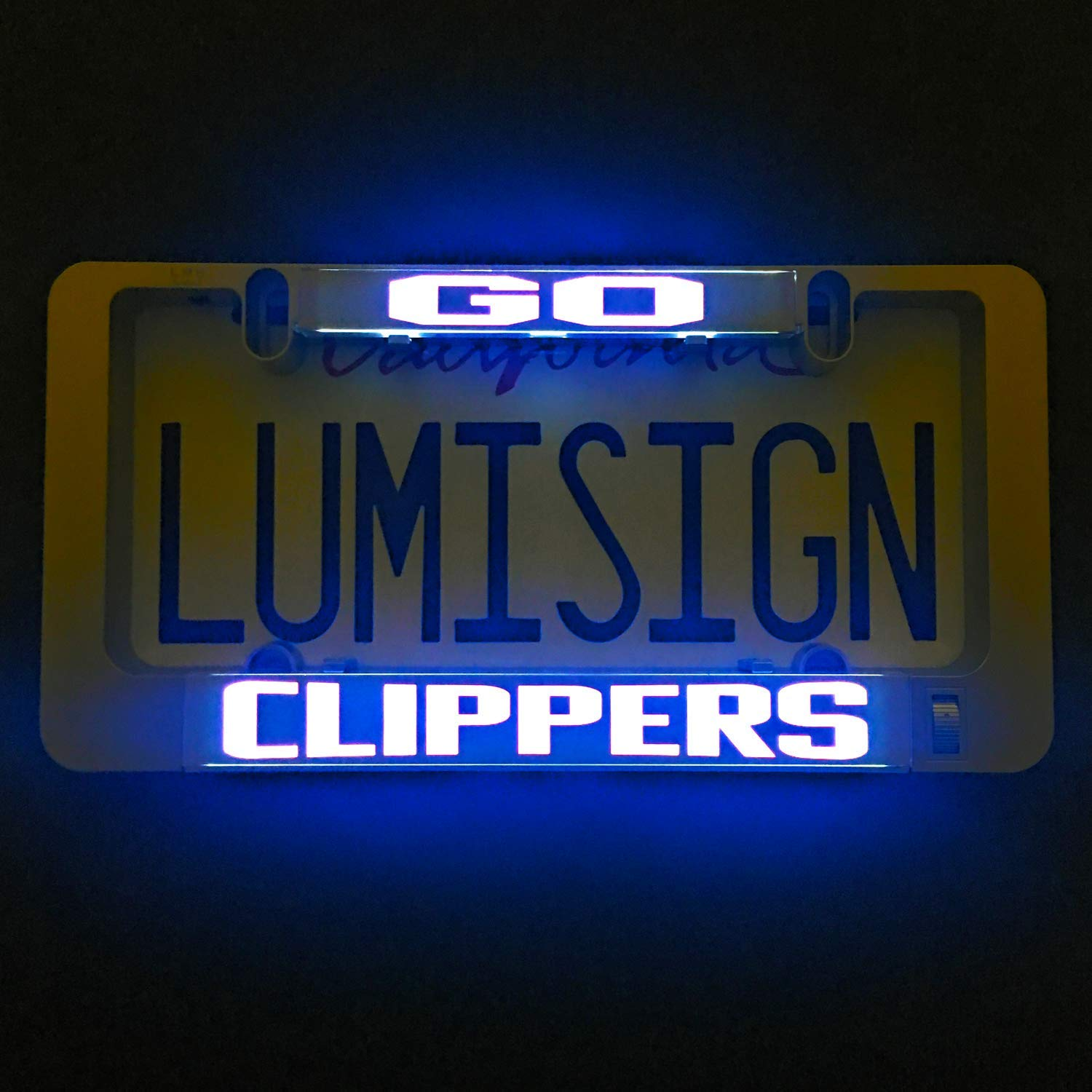 LumiSign - The Auto Illuminated License Plate Frame | Lights While Braking | Installs in Seconds | No Wires, Battery Operated | Switchable Inserts (Go Lakers) Olens Technology