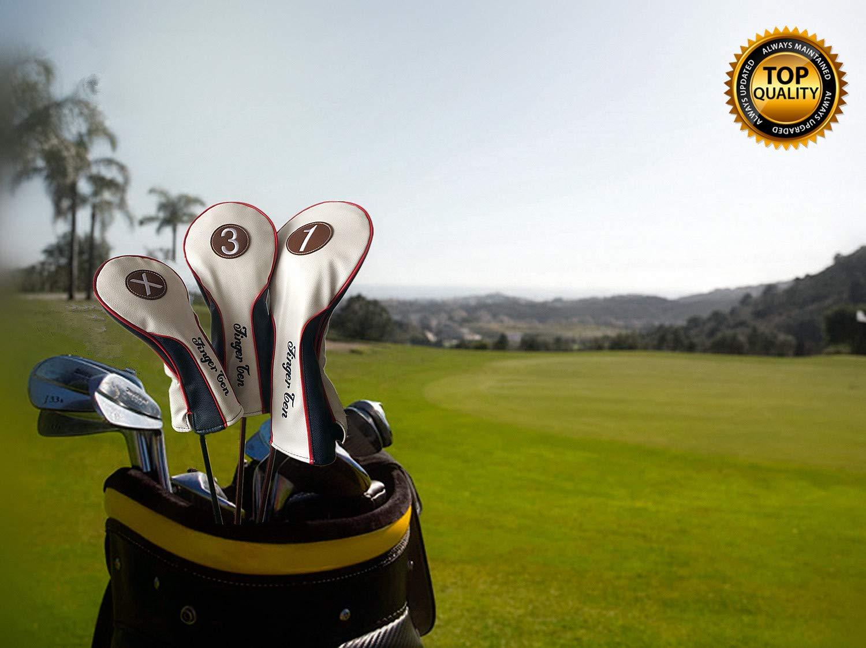 Funda de piel sintética para cabeza de palo de golf (Fairway, Rescue o Putter) de madera, impermeable, de lujo, de Finger Ten