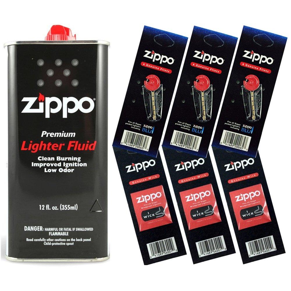 Zippo Gift Set - 12 Fl.oz Fluid Fuel and 3 Wick Card & 3 Flint Card (18 Flints)