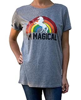 2fc25777da8966 Amazon.com: Womens Magical Funny T Shirts Unicorn Vintage Tees Cool ...