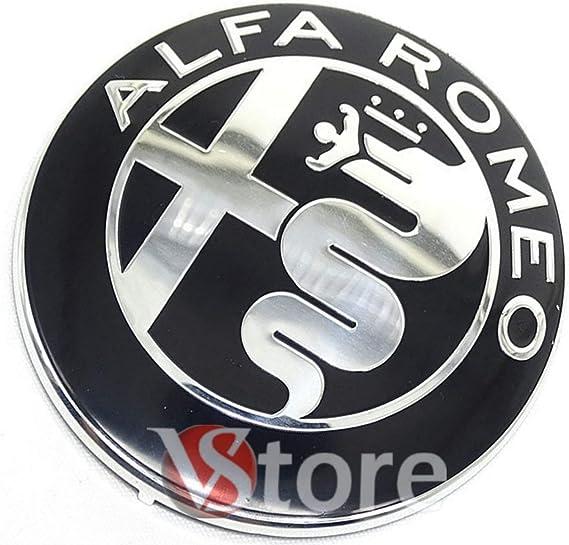 2 Fregi Stemma Alfa Romeo Nero Specchio Logo 74mm Cofano Anteriore