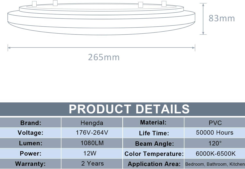 Hengda LED Deckenlampe 12 Watt Deckenleuchte 1080 Lumen /Ø 26.5cm wei/ß f/ür Schlafzimmer Wohnzimmer Kueche Badezimmer