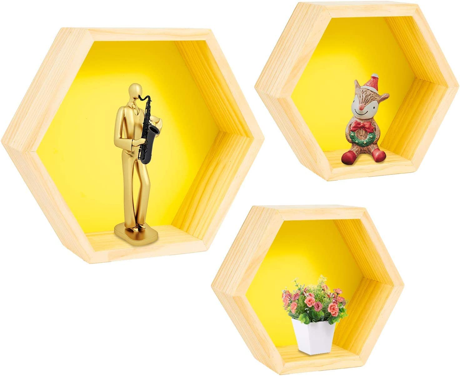 Floating Shelves Wall Mounted Set of 3, Geometric Hexagon Shaped Storage Shelves Home Decor for Bedroom, Hallway, Office, Living Room, Kitchen (Yellow)