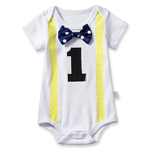 c415a7888b6 NNJXD Baby Boys  Funny First Birthday Bow Tie Infant Romper Bodysuit Size  (1 Years