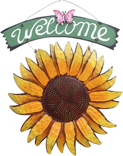 Harvest Sunflower Wall Hanging Wooden Sunflower Plaque Welcome Sign Wall Décor