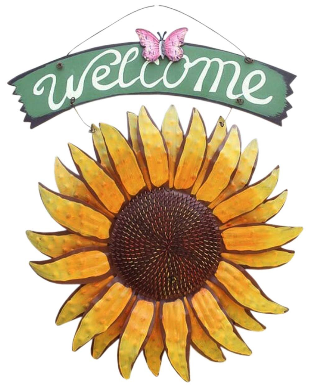 "QHZHANG 11.8' X 15"" Vintage Hanging Butterfly Sunflower Welcome Sign for Door Hanging (Sunflower)"