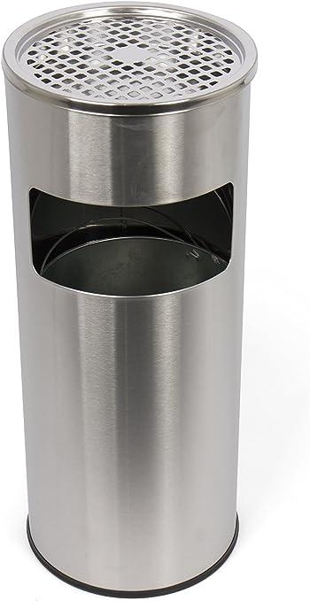 Standaschenbecher mit herausnehmbaren Mülleimer, Standabfallbehälter mit Aschenbecher für draußen, Standascher, 30 Liter in silber by Floyen Home