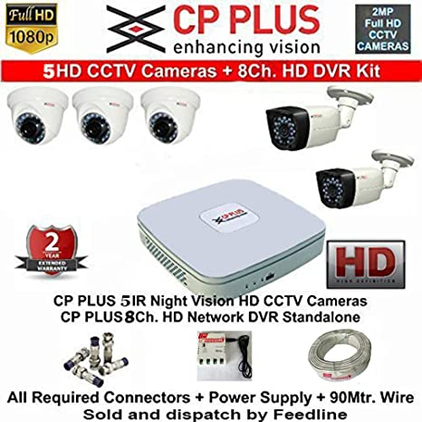 CP Plus 8-Channel DVR Kit With 2-TB Hard Disk , 3-PC 2.4MP Dome Camera , 2-PC 2.4MP Bullet Camera, 8-Ch Power Supply ,With BNC/DC Connectors & Wire Roll Combo Pack Dome Cameras at amazon