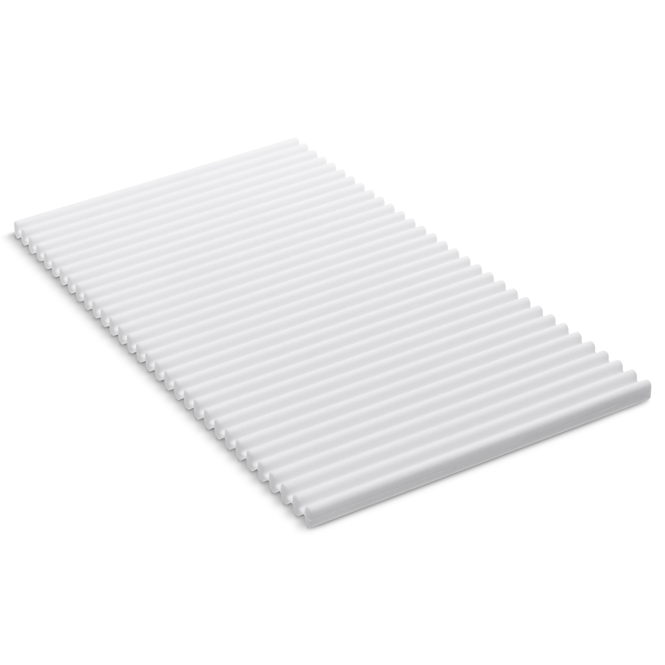 KOHLER Storable Silicone Dish Drying Mat or Trivet 7'' x 11.8'', Heat Resistant up to 500 Degrees F, White