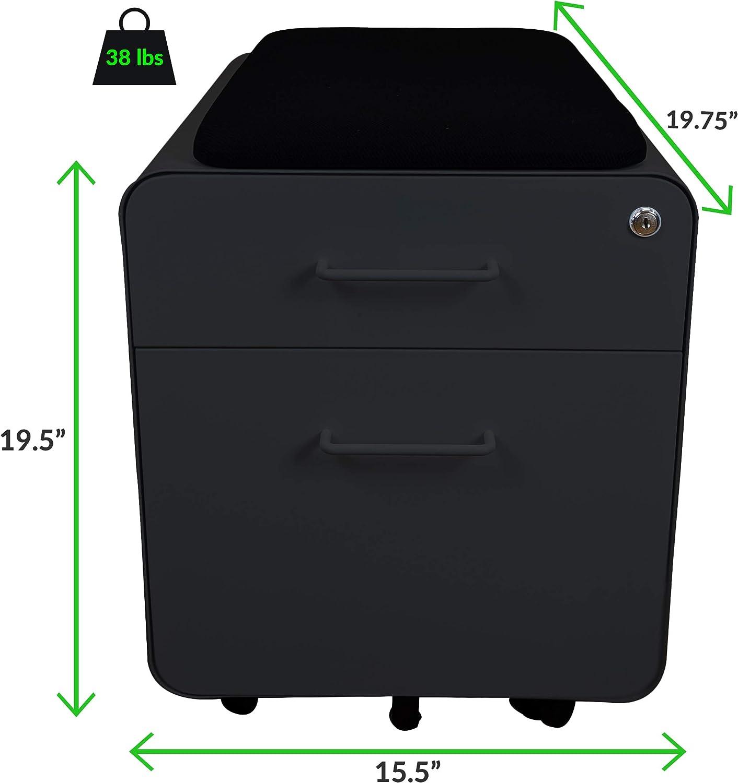 Rolling Under-Desk Pedestal File Cabinet with Seat 2-Drawer