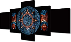 Wall Pictures for Living Room Blue Clay Maya Calendar on Black Background Paintings 5 Panel Prints Canvas Wall Art Ancient Mexican Artwork House Decor Gallery-Wrapped Framed Ready to Hang(50