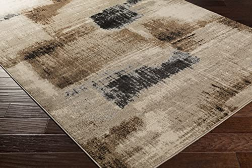 Enrique Charcoal and Brown Modern Area Rug 5 2 x 7 6