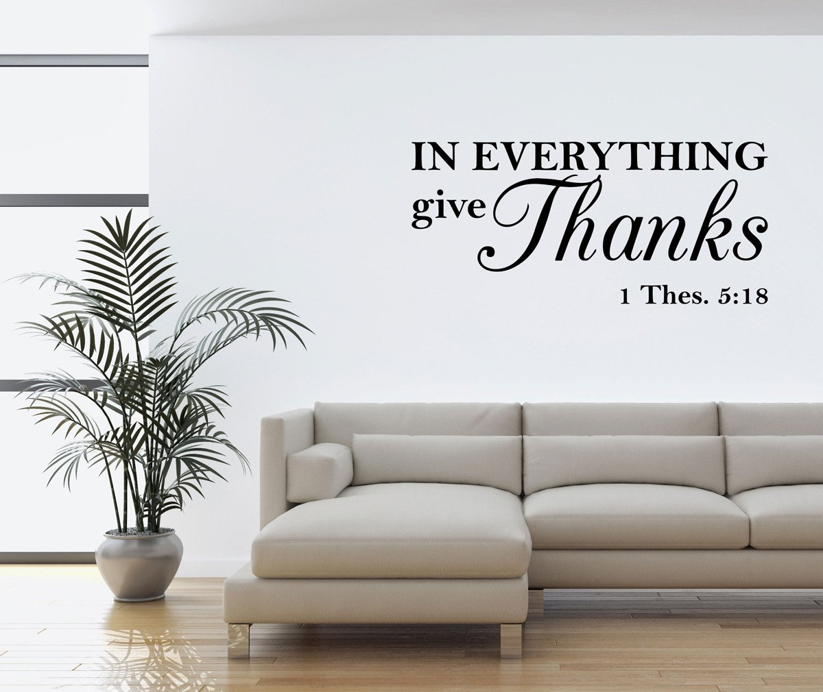 Wall Decal Quote in Everything Give Thanks Thessalonians Scripture Religious Wall Quotes Arts Sayings Bible Verse Vinyl Decals 6111053